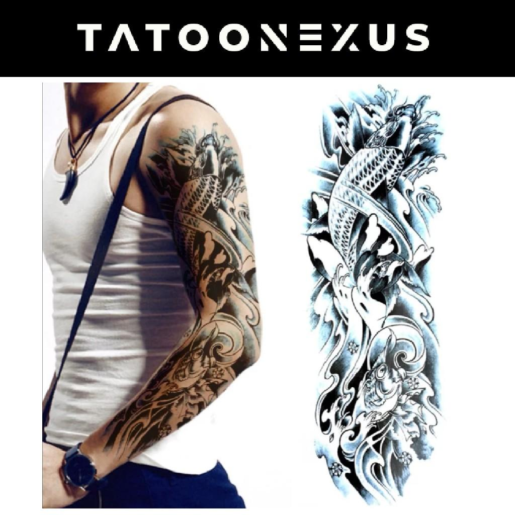 Full Sleeve Realistic Temporary Tattoo Body Art The Silver Carp Health Beauty Makeup On Carousell