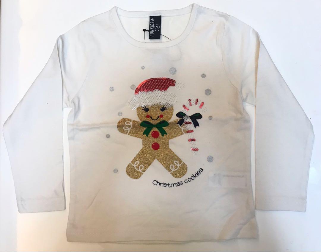 全新Girl's Christmas long sleeve T-shirt 女童聖誕長袖T-shirt, 出口歐洲