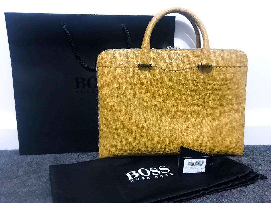 Hugo Boss Signature Leather Portfolio Slim Case (mens/womens/unisex)