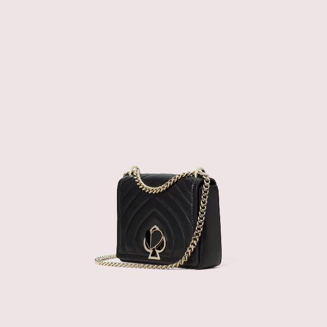 Kate Spade Amelia Twistlock Small Convertible Chain Shoulder Handbag Slingbag Crossbody Black Quilted