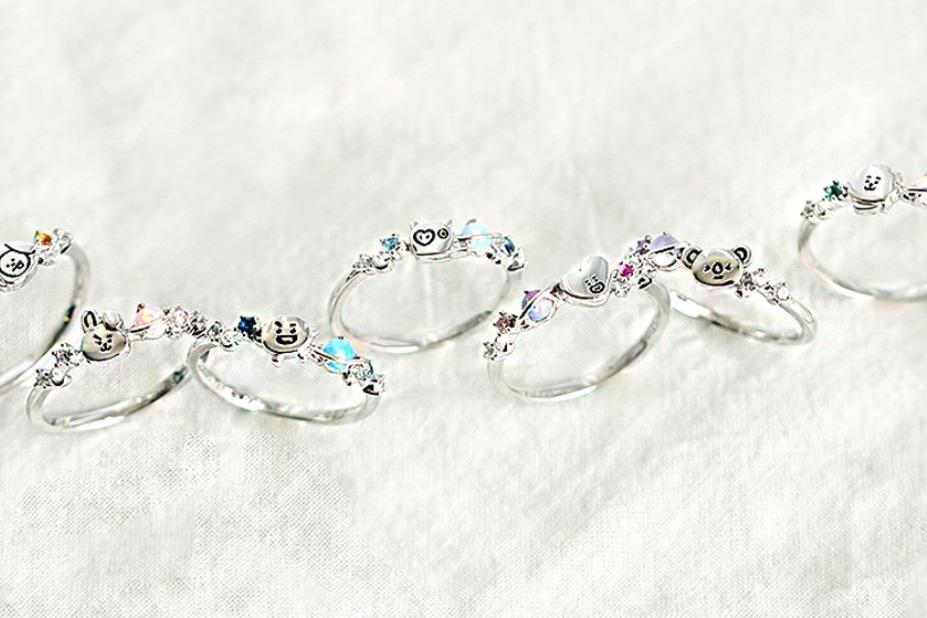 [KOREA PS/NO EMS] BT21 BTS OST SILVER RING (WITH STONE)