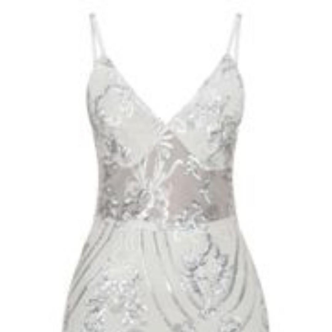 NWOT PLT Silver Sheer Strappy Panel Sequin Bodycon Dress 8