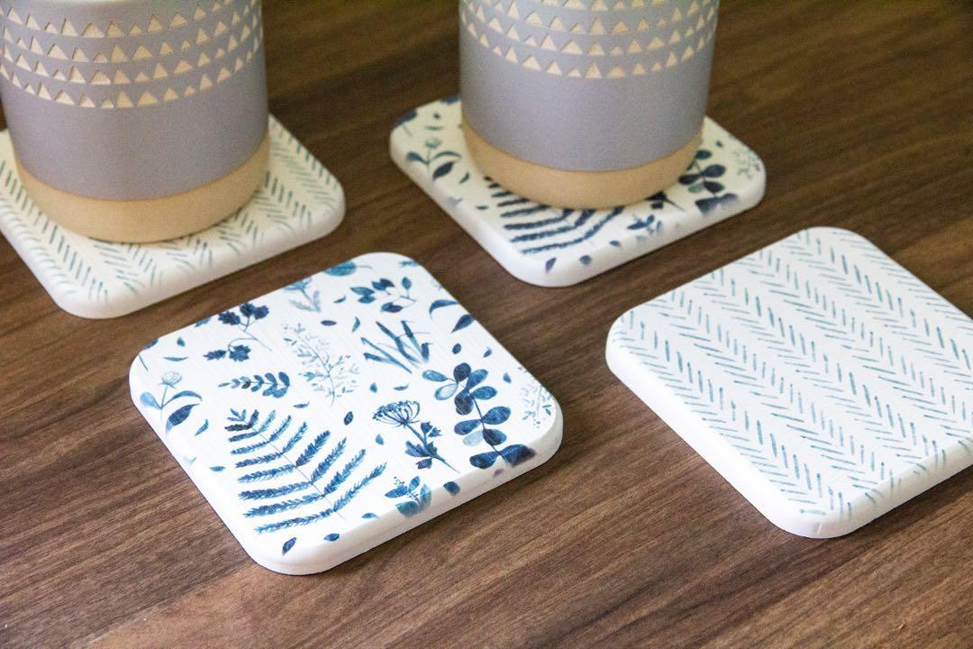 [preorders] blue and white prints diatomite coasters