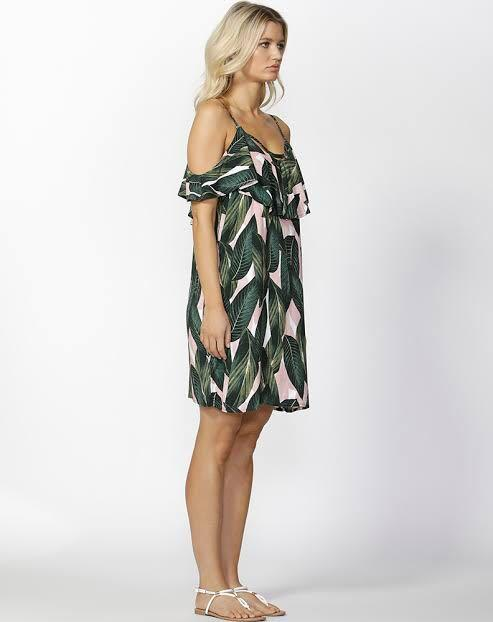 SASS Palm Springs ruffle dress pink and green leaves