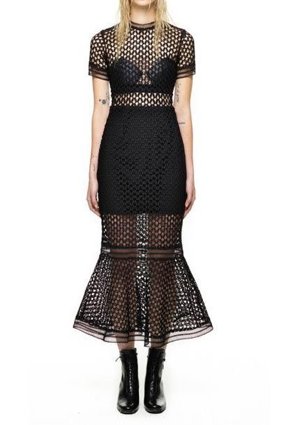 Self-portrait Arabesque Lace Flounced Dress