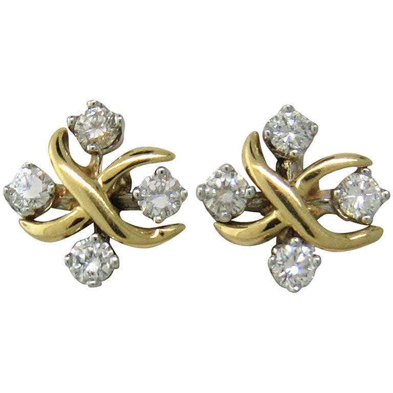 Tiffany & Co. Schlumberger Lynn Diamond Gold Platinum Stud Earrings