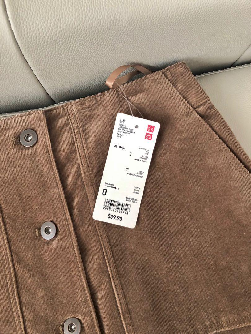 Uniqlo Corduroy High Waisted Mini Skirt Front Button