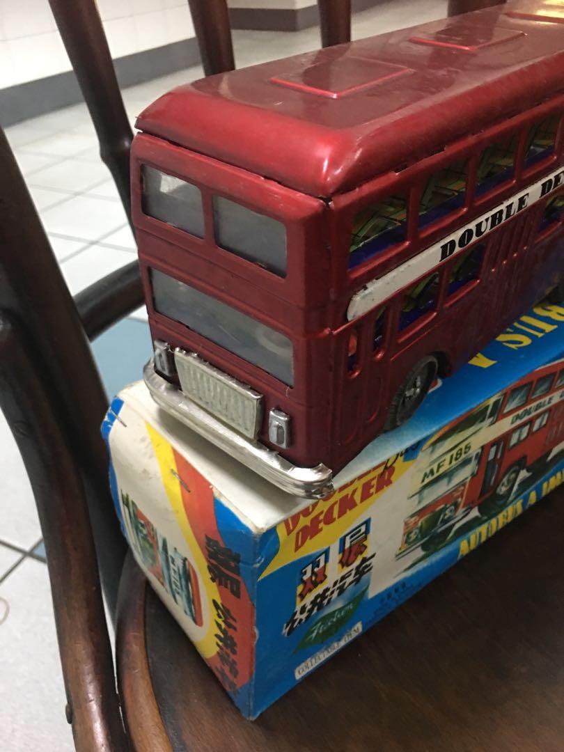 Vintage tin toy double decker bus