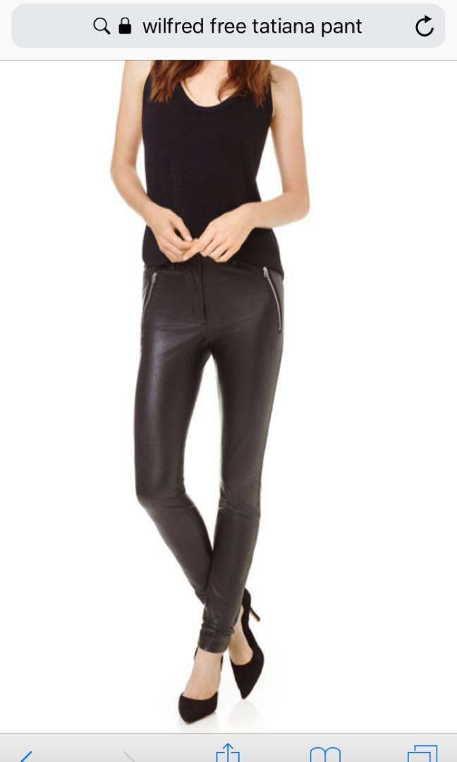 Wilfred free faux leather pants size 6, like DARIA