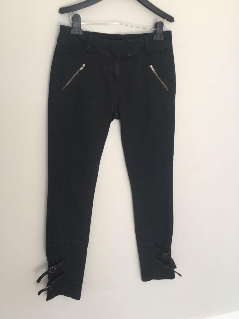Witchery Black Denim Jeans Size 8 Zip pockets buckle ankles decor