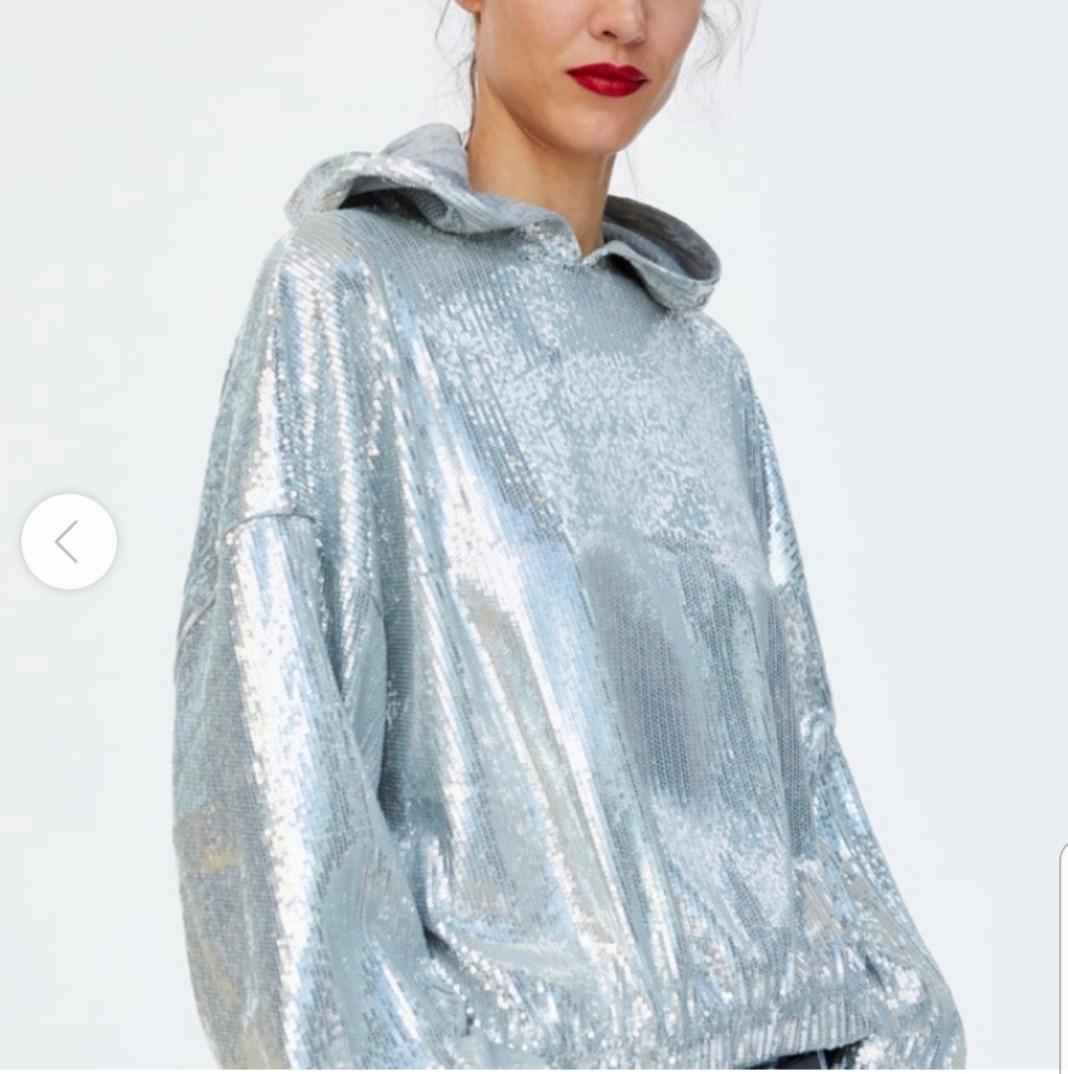Zara | Sequin Cropped Hoddie Sweatershirt Silver Size S