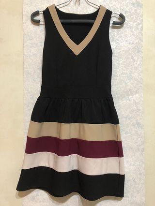 V領條紋小洋裝