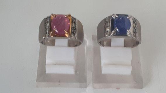 Batu Cincin Rubby & Blue Safir Lapis Berlian