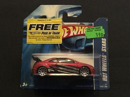 Hot Wheels Honda Civic Si (2006) with Black and White Side Tampo Designs & Chrome 10SP Wheels (short card)