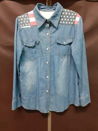 美國國旗淡藍色牛仔外套