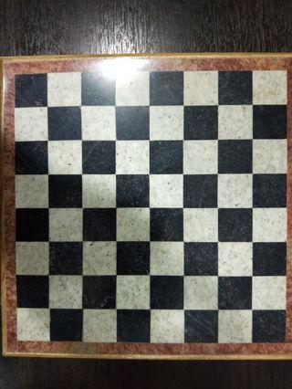 Marble stone and wood chess set