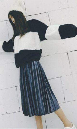 絲絨深藍色百摺長裙