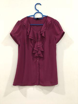 Maroon Top with Frills