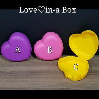 Tupperware Love♡in-a Box (1) 13.5cm(L) × 12.9cm(D) × 5.3cm(H)  Retail Price S$11.00 Now S$9.00