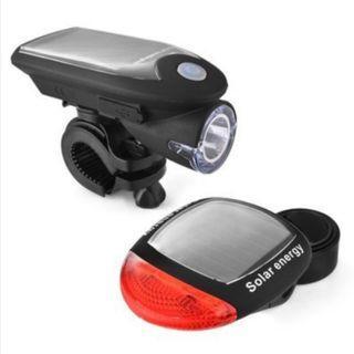 【暉長豪商行】太陽能充電車燈 Solar charging bicycle front/tail-Light 自行車燈 USB充電 360度旋轉 車前燈 車尾燈 夜騎燈組 腳踏車燈 單車燈 太陽能充電
