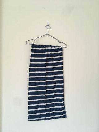 [休閒風 /渡假風]藍白條紋開衩棉質長裙