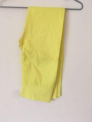 亮黃色 高腰緊身內搭褲