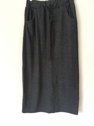 灰色棉裙 長棉裙