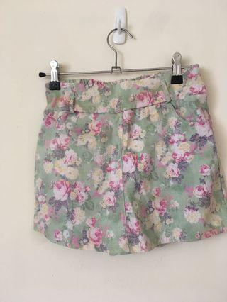 水彩風 小碎花褲裙