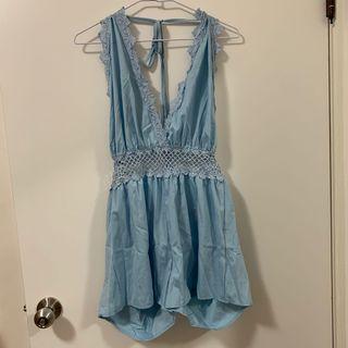 全新 性感粉藍連身褲