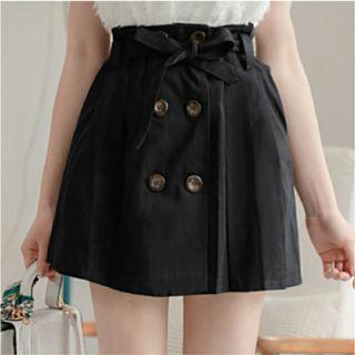花苞排扣裙(黑)