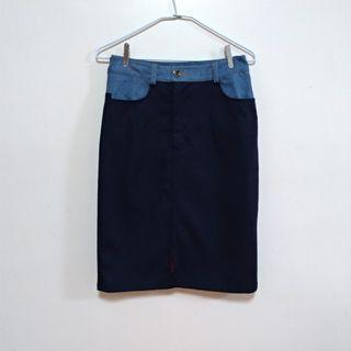 J&L藍色牛仔拼接窄裙