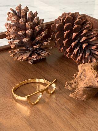 正品Kate Spade眼鏡造型金色手環 手鐲