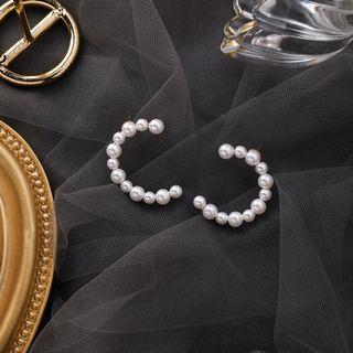 {朵朵韓飾} B3117 韓國直送(正韓)-925銀針 簡約甜美大小珍珠C形耳環
