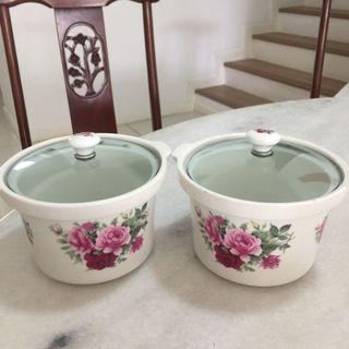 Ceramic Floral Container with Glass cover (2pcs)