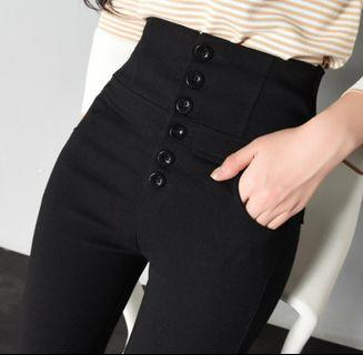 (BN) High waist black long pants elastic