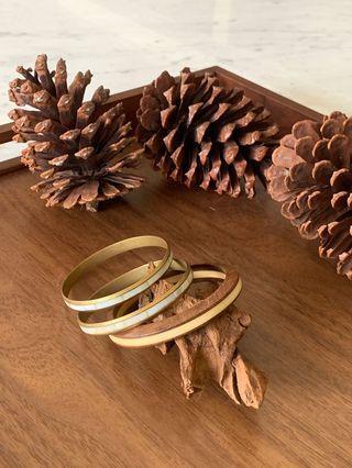 貝殼木製手鐲 手環 三件組