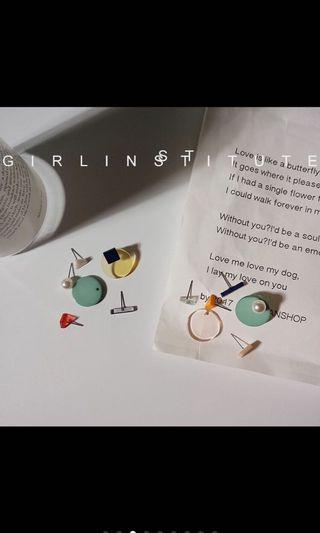 壓克力耳環/百搭/可自由組合/耳針/耳環