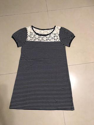 棉質針織繡花洋裝(m)肩寬38公分、臀圍47公分平量、全長80