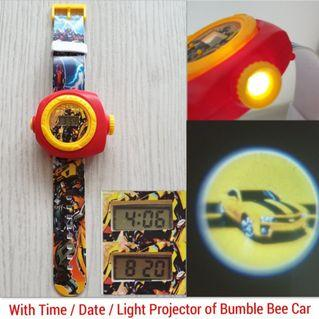 Transformers Bumble Bee Kids Children Boy Watch - With Time / Date / Light Projector of Bumble Bee Car
