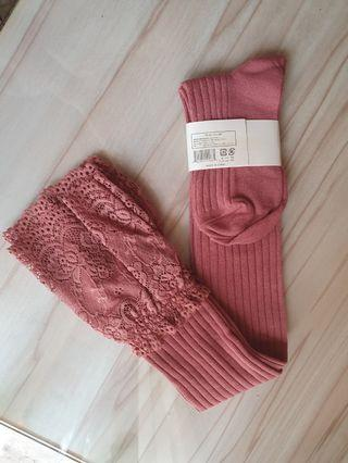 Imported Pink Lace Long Socks