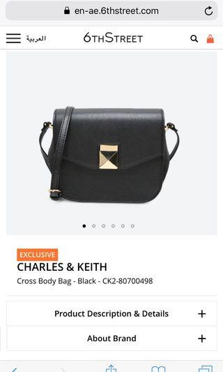 CHARLES AND KEITH CROSS BODY BAG IN BLACK