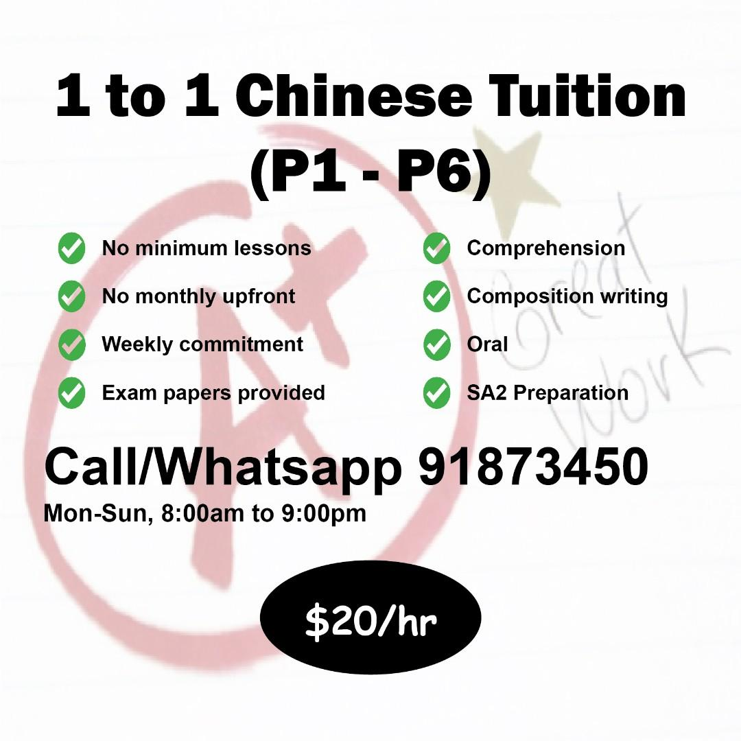 1 to 1 Home Tuition (Maths, English, Chinese)