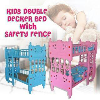 KIDS DOUBLE DECKER BED WITH SAFETY FENCE O