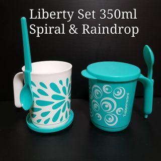 Tupperware mug with hanging spoon Liberty Set 350ml (2)  Spiral & Raindrop  8.8cm(D) x 10.4cm(H)    Retail Price S$21.80