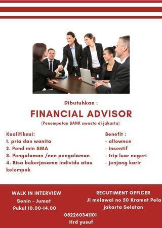 Dibutuh kan finansial advisor penempatan di bank