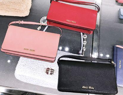 Miu Miu Leather Wallet on Strap
