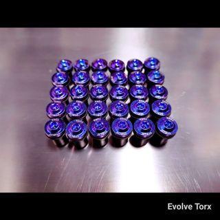 🔩Bluish-Violet Titanium Torx Windscreen bolts