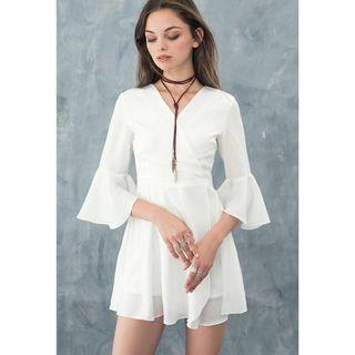 theclosetlover tcl bell sleeve playsuit romper in white aubrey