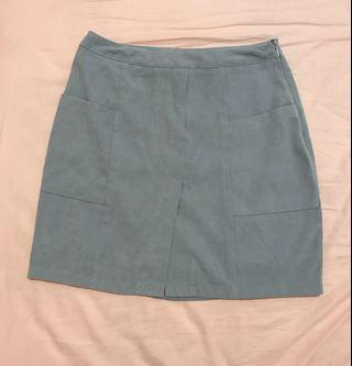 Pazzo 藍灰色微絨面前開岔A字短裙