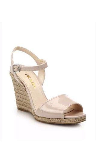 Prada Blush Patent Leather Espadrille Wedges sz 36.5